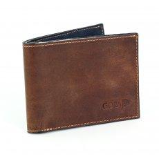 Kožená peněženka GORA slim G01 - hnědá/modrá