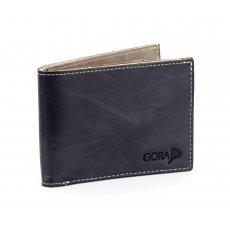 Kožená peněženka GORA slim G01 - černá/šedá