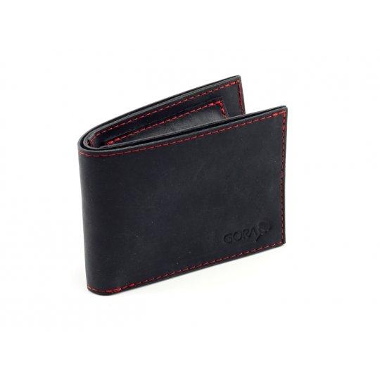 Kožená peněženka GORA slim - černá/červená