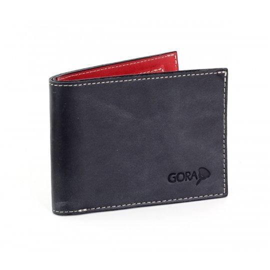 Kožená peněženka GORA slim G01 - černá/červená